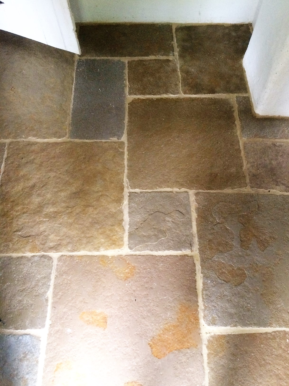 Unsealed and dirty sandstone tiled floor cleaned and for How to clean unsealed grout