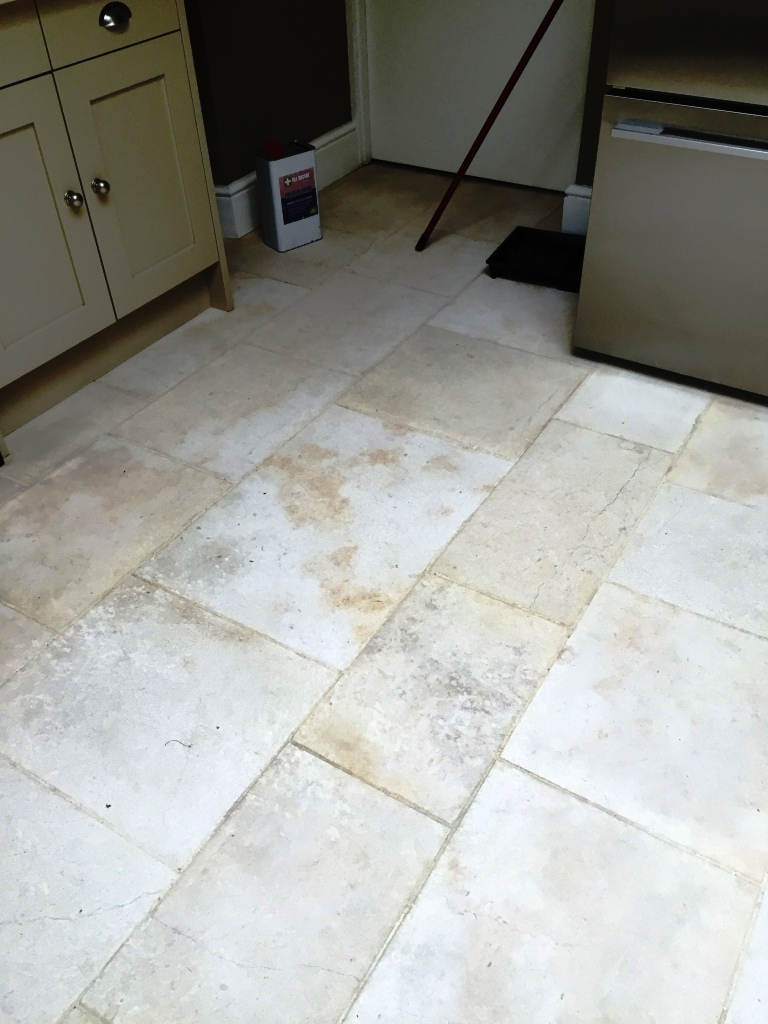 Limestone Tiled Floor After Cleaning in Bridgwater