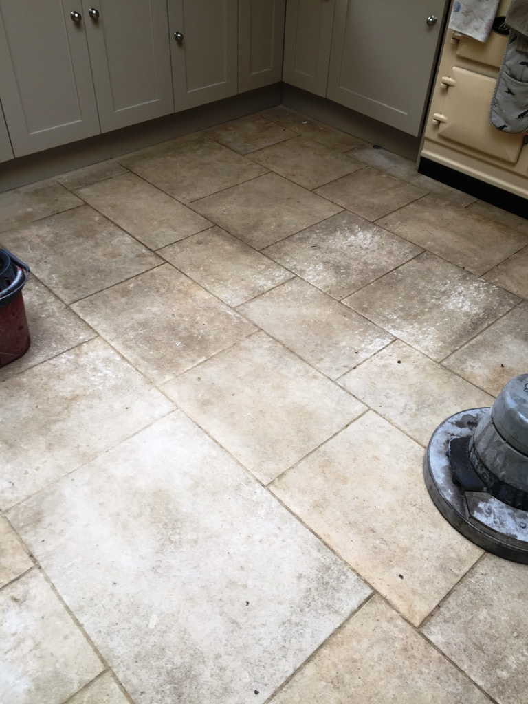 Limestone Tiled Floor Before Cleaning in Bridgwater