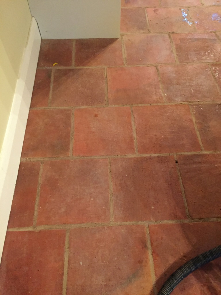 Terracotta Floor Before Cleaning Minehead Somerset