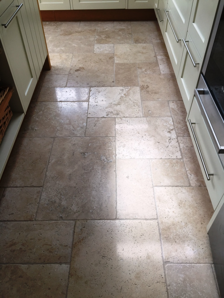 Pitted Travertine Tiled Floor After Cleaning Frome Somerset
