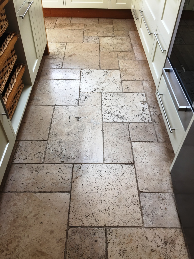 Pitted Travertine Tiled Floor Before Cleaning Frome Somerset