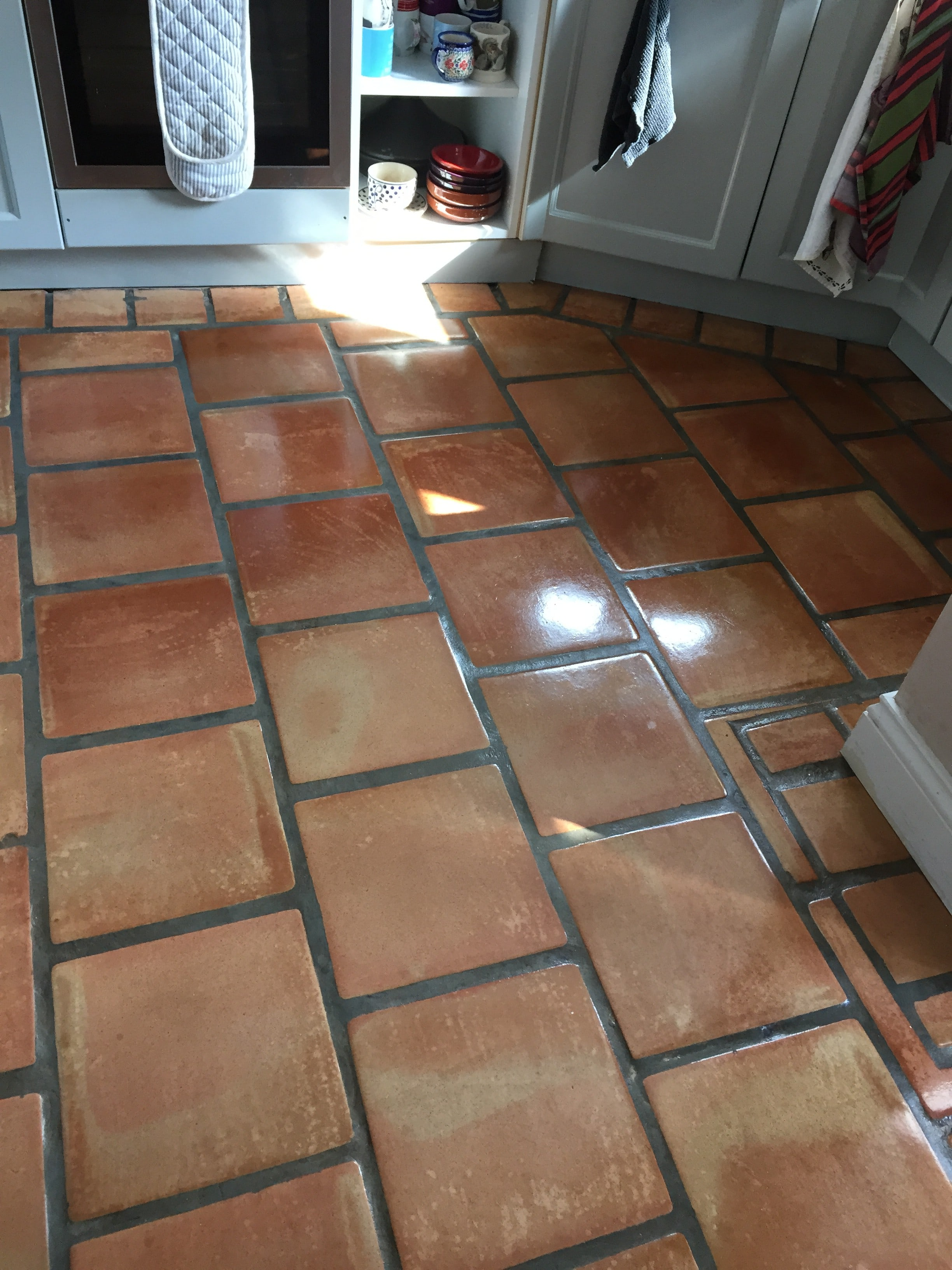 Terracotta Tiles Damaged by Bleach after cleaning and sealing Crewkerne