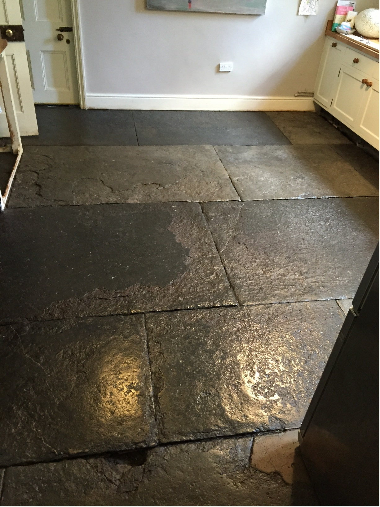 Blue Lias Flagstone Kitchen floor in Odcombe Somerset After Restoration
