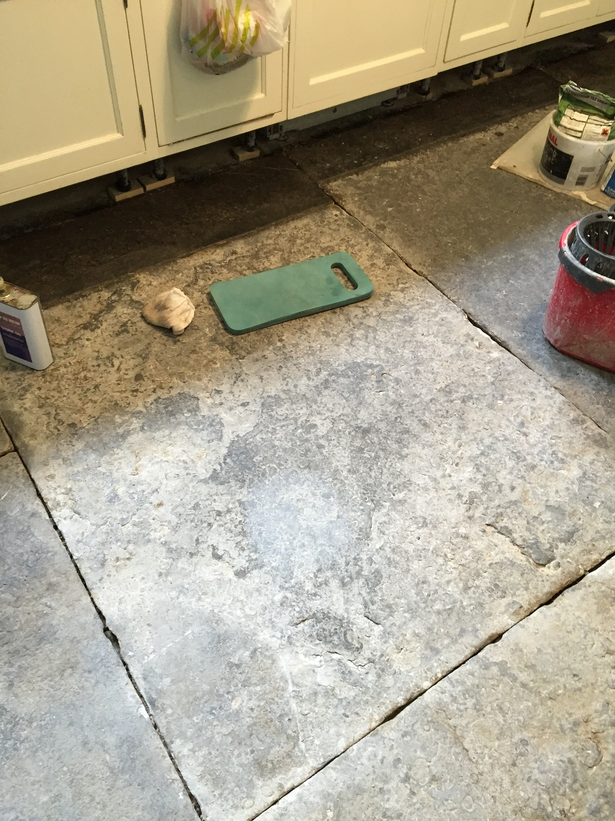Blue Lias Flagstone Kitchen floor in Odcombe Somerset Before Restoration