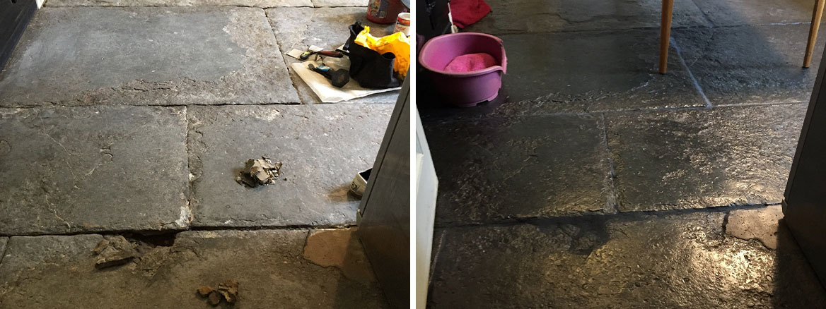 Blue Lias Flagstone Kitchen floor in Odcombe Somerset Before After Restoration