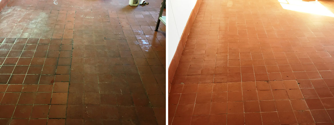 Quarry Tiles Before After Cleaning Yeovil in Somerset