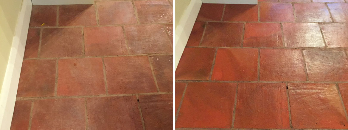 Terracotta Floor Before After Cleaning Minehead Somerset